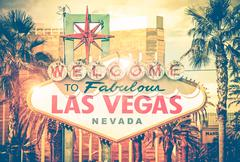 vintage las vegas photo. las vegas boulevard entrance sign. nevada, united st - stock photo