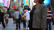 Stock Video Footage of close up Time Lapse of people in Times Square