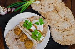 chickpea falafel with lebanese bread - stock photo