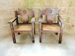 armchairs in church-abbey of mont saint michel - stock photo