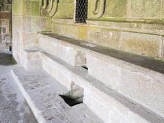 Stone seats in abbey mont saint michel Stock Photos