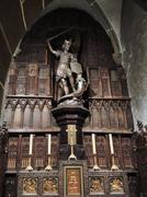 st michael statue in abbey mont saint michel - stock photo