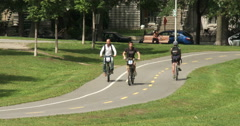 Cyclists riding on bike lane Stock Footage