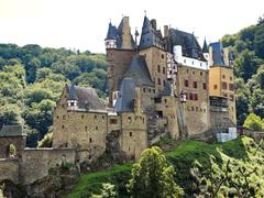 view of castle eltz above mosel river, germany - stock photo