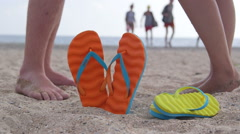 Colorful summer beach vacation getaway for two Stock Footage