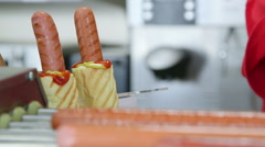 Prepared hot dogs in fast food lunch dinner Stock Footage
