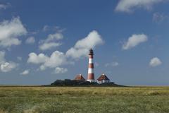 westerhever (germany) - light house - stock photo