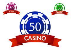 casino chip emblem - stock illustration