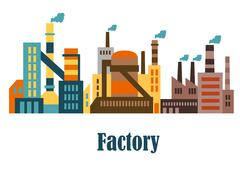 Factory and plant buildings in flat style Piirros