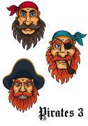 Cartoon fierce pirates set Stock Illustration