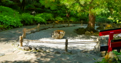 4K Japanese Garden, Manicured Rock Garden and Red Arch Japanese Bridge Stock Footage