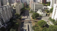 Aerial view from an Important Avenue in Sao Paulo, Brazil Stock Footage