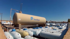 Propane Tanks At Natural Gas Company- Valle Arizona Stock Footage