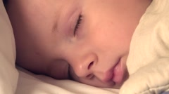 Portrait of innocent baby child sleeping, close up Stock Footage