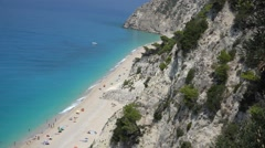 Beach with turquoise water and rocks, beautiful Lefkada Greece Stock Footage