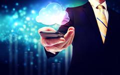 business man with mobile phone cloud service - stock illustration
