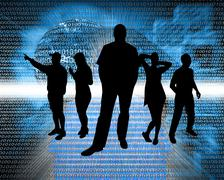 Stock Illustration of people in cyberspace