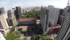 Aerial view for Paulista Avenue in Sao Paulo, Brazil (with Fish Eye) Stock Footage