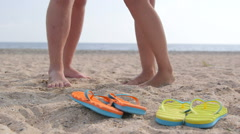 Romantic couple summer beach vacation getaway Stock Footage