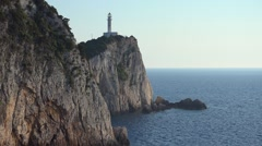 Lighthouse on the cliffs at Lefkada, Ionian sea, Greece 4K Stock Footage