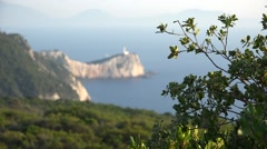 Close up to tree branch, lighthouse on a cliff in background  Stock Footage