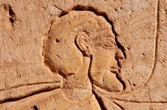 abu simbel on the border of egypt and sudan - stock photo