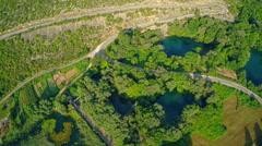 Road around Brljan lake, aerial view Stock Footage