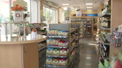 Gas station convenience store interior in Ukraine - stock footage