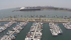 Aerial Shot of Queen Mary in Long Beach Stock Footage