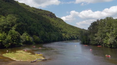 Kayaking on the Dordogne River - France Stock Footage