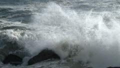 Crashing Waves and Rocks and Surf at Ocean Beach Stock Footage