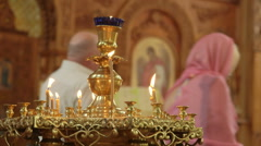Orthodox Christians Attend Prayer in Russian Orthodox Church Stock Footage