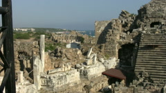 Ruins amphitheater at ancient Side Stock Footage