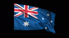 Seamless looping Australia flag waving in the wind , clipping path included Stock Footage