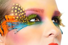 Woman with false feather eyelashes makeup Stock Photos