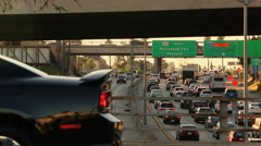 Multi-layered Los Angeles Highway Gridlock Rush Hour Cars Stock Footage