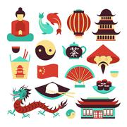China symbols set Stock Illustration