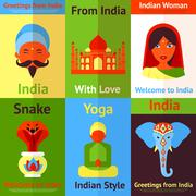 India mini poster - stock illustration