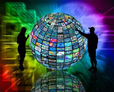 sphere and silhouettes - stock illustration