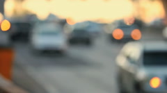Sunset Rush Hour Highway Traffic. Blurred then focused Stock Footage