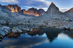 evening mountain lake reflection - stock photo