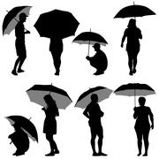 black silhouettes man and woman under umbrella. vector illustrations. - stock illustration