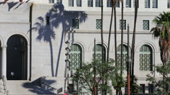 Los Angeles City Hall with Palm Trees Silhouette Day Stock Footage