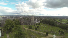 Flying over cemetery in Stirling, Scotland on a summer day - stock footage