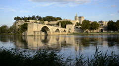 Pont St Benezet and Rhone river in Avignon France - stock footage