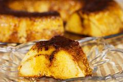 Delicious creme caramel dessert. a classic egg and caramelized sugar delight. Stock Photos