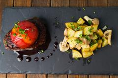 sirloin steak with roasted potatoes - stock photo
