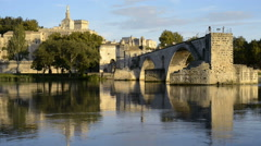 Pont St Benezet and Rhone river in Avignon France Stock Footage