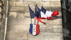 French flag on the medieval wall Stock Footage