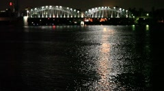 Night city river bridge  blurred outlines Stock Footage